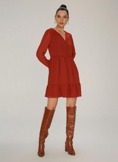 NGSTYLE Volan Detaylı Elbise Kiremit